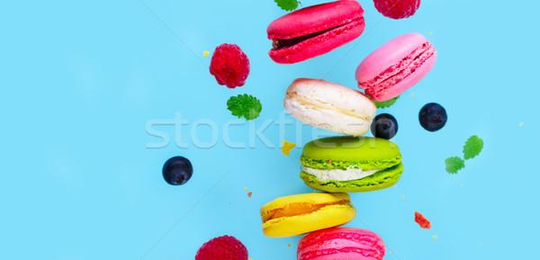 Cookies rosa caer bayas azul Foto stock © neirfy
