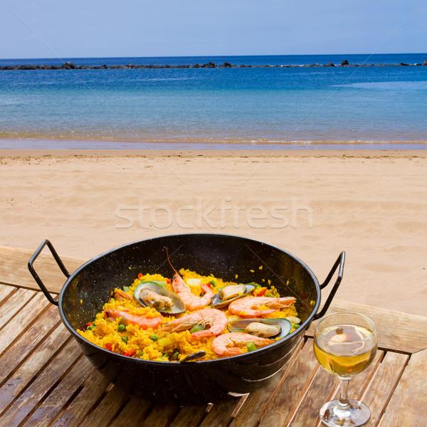 Frutti di mare cafe vetro vino spiaggia Foto d'archivio © neirfy