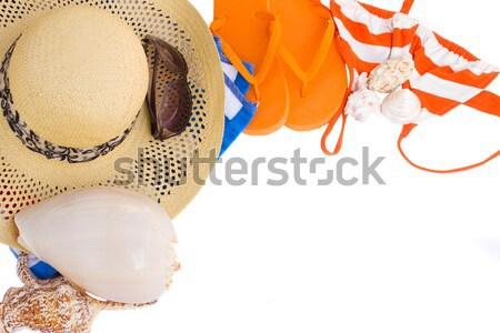Pomarańczowy sandały muszle ramki pary odizolowany Zdjęcia stock © neirfy