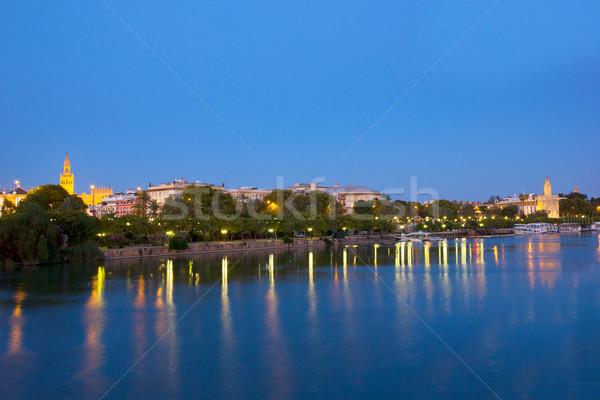 cityscape of Sevilla at night, Spain Stock photo © neirfy