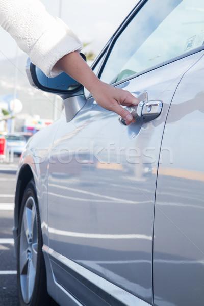 woman opens car door Stock photo © neirfy