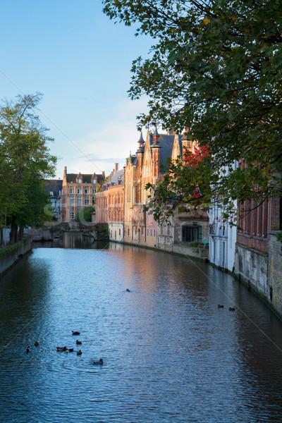 Ulicy starych kanał Belgia domu miasta Zdjęcia stock © neirfy