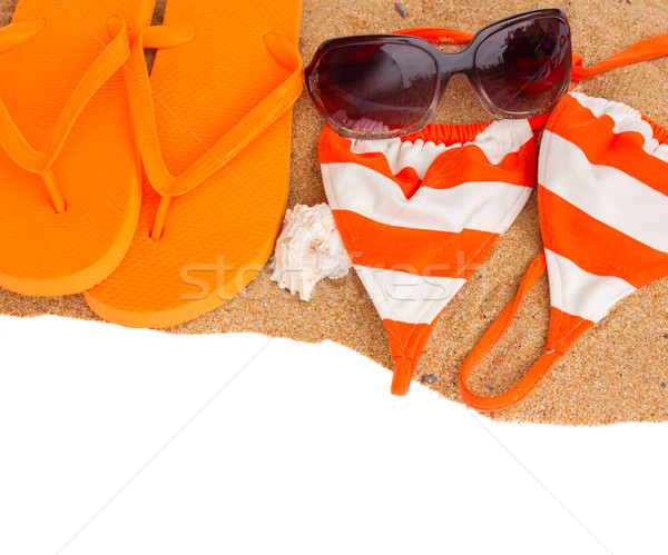 Naranja sandalias natación arena frontera aislado Foto stock © neirfy
