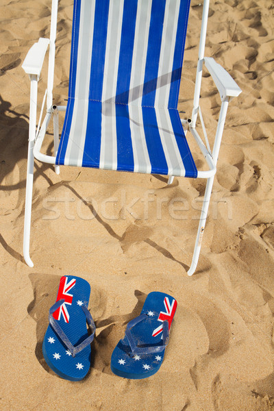 beach chair with sandals Stock photo © neirfy