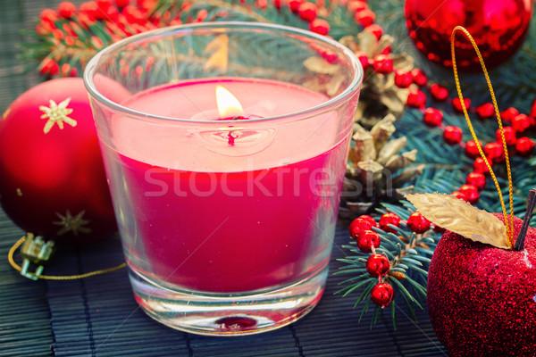Natale rosso decorazioni candela Foto d'archivio © neirfy