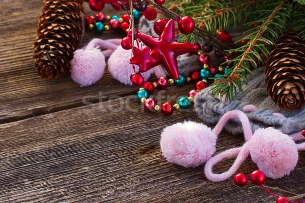 Navidad decoraciones lana calcetines hojas perennes árbol Foto stock © neirfy