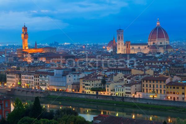 Stock fotó: Katedrális · mikulás · Florence · Olaszország · óváros · folyó