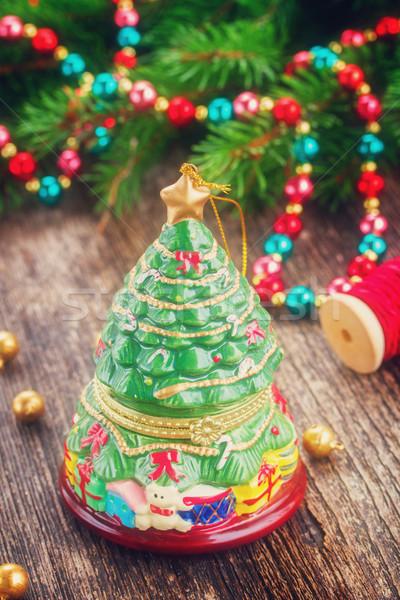 Natale evergreen albero retro decorazione legno Foto d'archivio © neirfy
