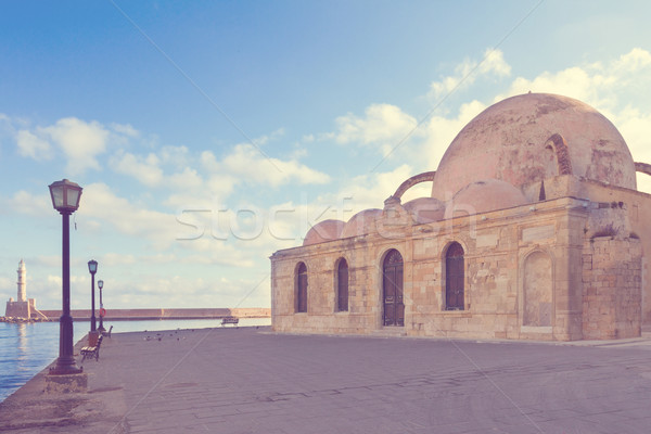 embankment and Turkish Mosque Yiali Tzami of Chania Stock photo © neirfy