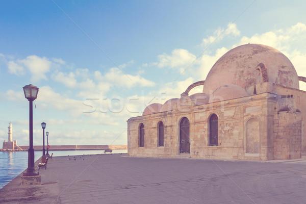 Török mecset Görögország retro égbolt víz Stock fotó © neirfy