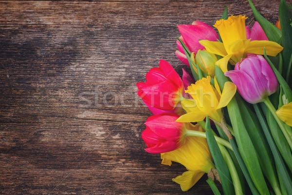 Buquê tulipas narcisos fresco rosa flores Foto stock © neirfy