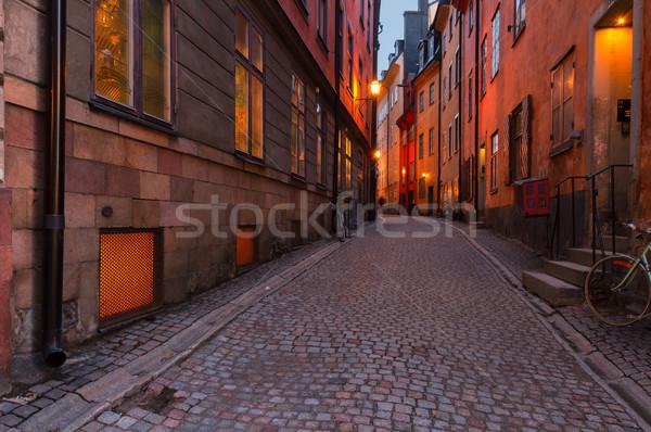 Gece Stockholm sokak İsveç yol Stok fotoğraf © neirfy