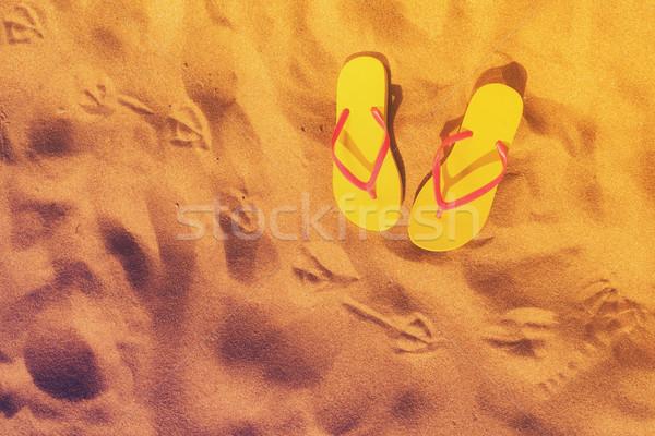 Stok fotoğraf: Yaz · plaj · eğlence · sarı · martı · ayak · izleri