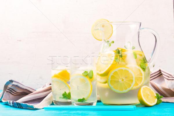 Limonádé házi készítésű ital bögre kettő szemüveg Stock fotó © neirfy