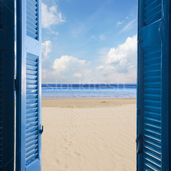 room with open door to seascape Stock photo © neirfy