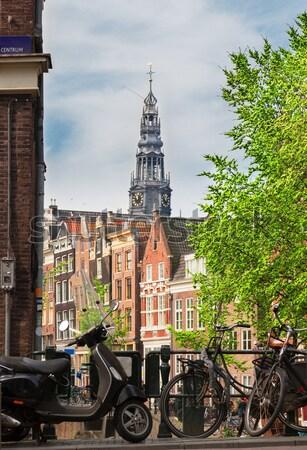 домах Амстердам Нидерланды Велосипеды фары Сток-фото © neirfy