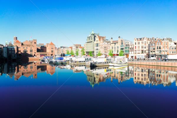 住宅 アムステルダム オランダ 運河 典型的な オランダ語 ストックフォト © neirfy