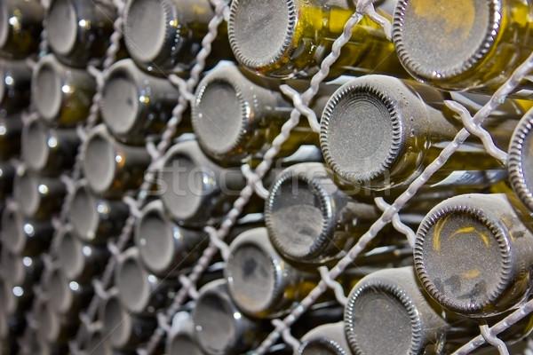 Stock photo: pile of wine bottles