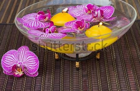 Stockfoto: Spa · therapie · evenement · brandend · kaarsen · orchideeën