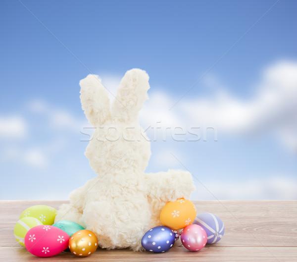 Stockfoto: Ei · jacht · Easter · Bunny · Pasen · konijn · metaal
