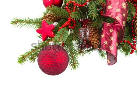 evergreen fir tree and red christmas balls Stock photo © neirfy