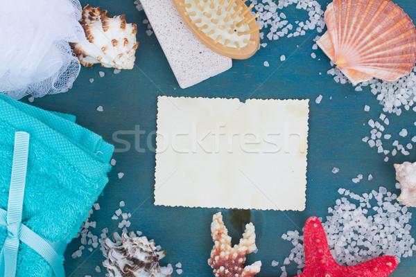 Deniz terapi çerçeve boş kağıt plaj kâğıt Stok fotoğraf © neirfy