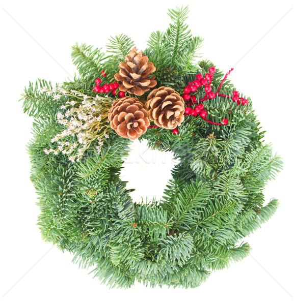 Foto d'archivio: Natale · ghirlanda · evergreen · albero · isolato · bianco