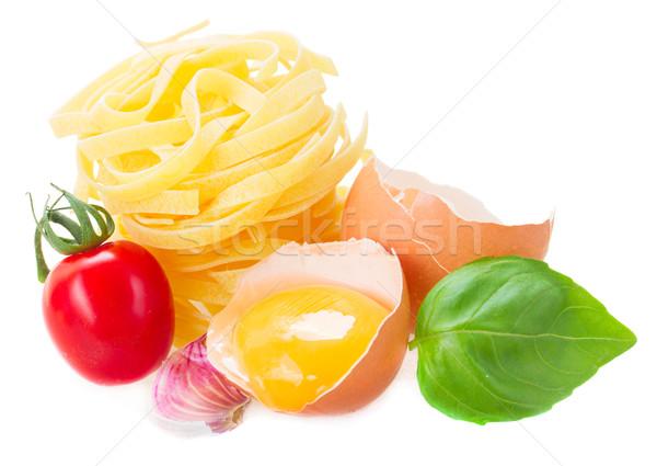тальятелле сырой пасты яйцо желток томатный Сток-фото © neirfy