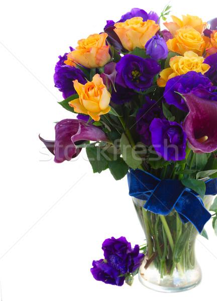 Stockfoto: Bloemen · boeket · violet · oranje · rozen · Blauw