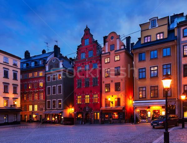 Gece Stockholm İsveç yol şehir pencere Stok fotoğraf © neirfy