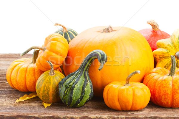 Dynia tabeli pomarańczowy drewniany stół Zdjęcia stock © neirfy