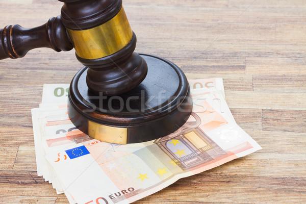 Recht hamer euro geld houten desktop Stockfoto © neirfy