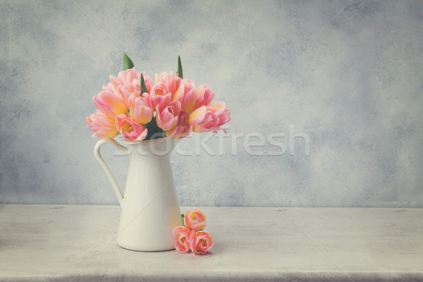 Pink and yellow tulips Stock photo © neirfy