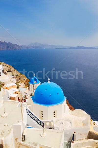 view of caldera with blue domes, Santorini Stock photo © neirfy