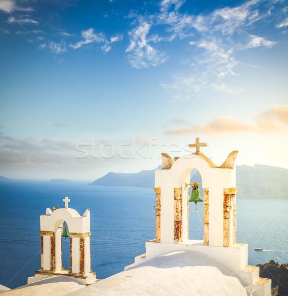 Branco santorini ilha Grécia igreja vulcão Foto stock © neirfy
