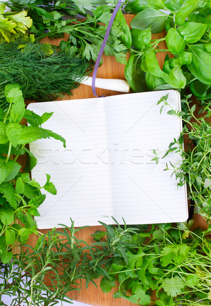 blank notebook for recipes with herbs Stock photo © neirfy
