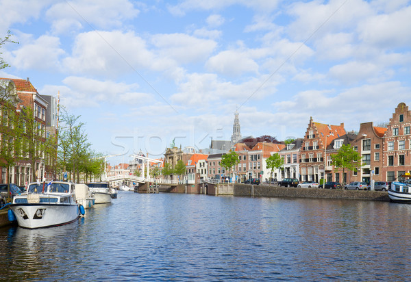 Spaarne river with boats in old Haarlem, Holland Stock photo © neirfy