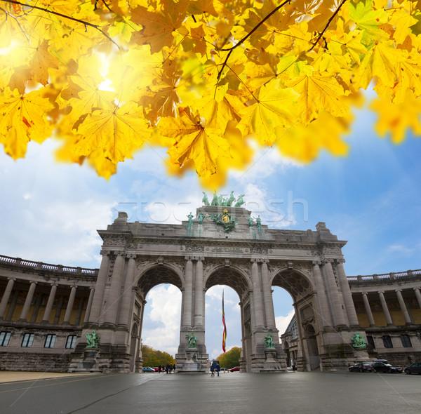 Boog Brussel een bouwkundig symbolen vallen Stockfoto © neirfy