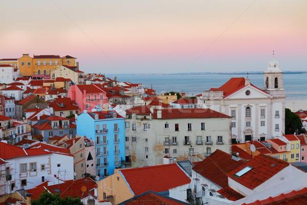 View Lisbona Portogallo colorato città vecchia rosa Foto d'archivio © neirfy