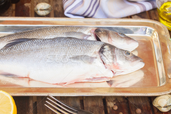 ストックフォト: 2 · 銀 · 生 · 魚 · 食品 · 背景