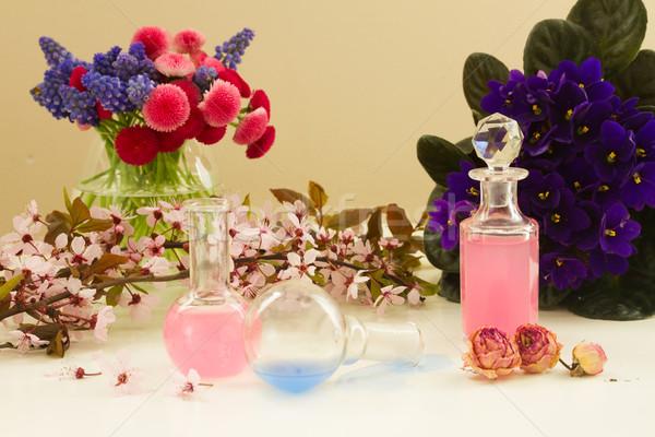 アロマセラピー 花 ガラス 油 葉 ストックフォト © neirfy