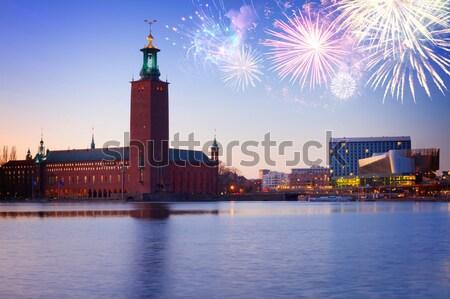 Stockholm Zweden stad hal nacht water Stockfoto © neirfy