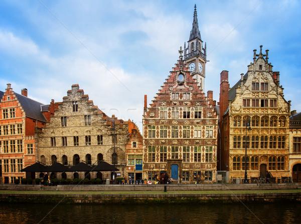 historical Graslei harbor  , Ghent Stock photo © neirfy