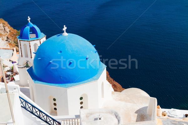 Geleneksel mavi kubbe deniz santorini adası kilise Stok fotoğraf © neirfy