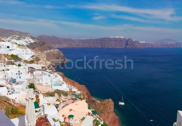 Tradicional griego pueblo mar blanco volcán Foto stock © neirfy