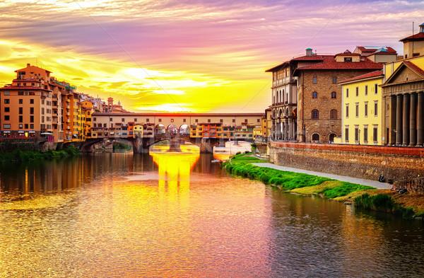 フィレンツェ 有名な 橋 川 日没 レトロな ストックフォト © neirfy