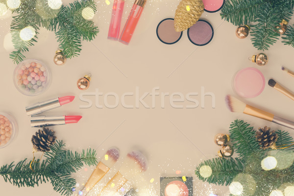 Christmas make-up cosmetica ingesteld producten evergreen Stockfoto © neirfy