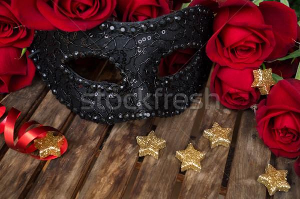 ストックフォト: 暗い · 赤いバラ · 表 · 赤 · 新鮮な · バラ