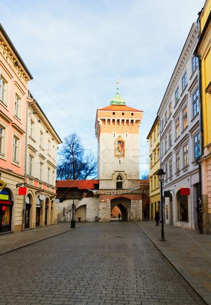 Utca öreg Krakkó Lengyelország kapu óváros Stock fotó © neirfy