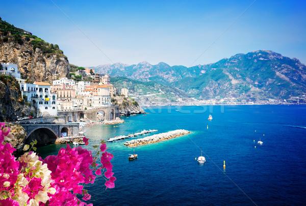 Foto stock: Costa · Italia · verano · mar · barcos · flores